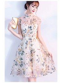 Embroidered A-Line Illusion Qipao / Cheongsam Dress