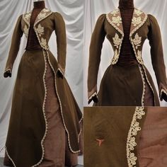 This week I chose a late Victorian walking suit from around 1900. It's fabrication is of brown wool and watered silk moire, as well as with cream lace appliqués. From eBay.