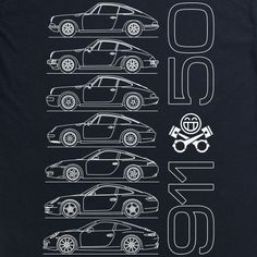 In appreciation of the 50th anniversary of the Porsche 911, this design shows seven generations of the iconic German sports car. From top to bottom: 911 E / 911 S - 1964-1973, 911 Carrera - 1973-1989, 911 (964) - 1989-1993, 911 (993) - 1994-1997, 911 (996) - 1998-2004, 911 (997) - 2005-2012, 911 (991) - 2012-present. ®©™ This is original, unofficial art inspired by Porsche. It is unofficial and in no way associated with Porsche. Porsche and 911 and related marks are registered..