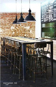 Permanent lighted buffet table -Industrial Vintage Decor