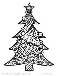 Christmas and Hanukkah I Heart Coloring! by Rachel Lynette Christmas Tree Zentangle, Christmas Doodles, Christmas Drawing, Christmas Rock, Christmas Colors, Christmas Crafts, Xmas, Christmas Coloring Sheets, Zentangle Patterns