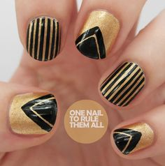 Ohhhh black and gold. Pretty! | One Nail To Rule Them All: Butter LONDON Marbs - Review and Nail Art