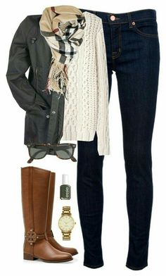 Military green jacket, cream sweater, black skinny jeans, brown riding boots, camel & black plaid oblong scarf