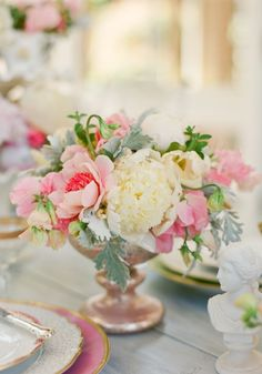 pink and dusty miller centerpiece