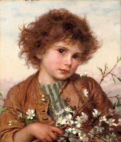 "Pre-Raphaelite Painting:  ""Spring Blossom,"" by Sophie Gengembre Anderson (French 1823 - 1903). #Pre-Raphaelite."