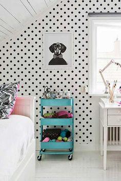 Cool kids' room with an Ikea Raskog cart and black and white polka dot walls Ikea Raskog, Raskog Cart, Girl Room, Girls Bedroom, Bedroom Decor, Decorating Bedrooms, Bedroom Small, Bedroom Shelves, Bedroom Neutral