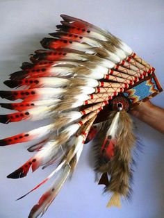 For Children: Indian white and red  Feather Headdress