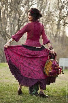 """Купить авторский жакет и сумка из шерсти мериноса с шелком """"Gypsy Spring"""" - фуксия, яркий жакетик"""