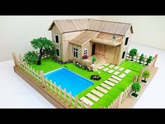 How to Make A Popsicle Stick House With Beautiful Fairy Garden & Swimming Pool -. - How to Make A Popsicle Stick House With Beautiful Fairy Garden & Swimming Pool -…- How to Make - Popsicle Stick Crafts House, Popsicle Sticks, Craft Stick Crafts, Garden Swimming Pool, Pool Backyard, Sticks Furniture, Garden Villa, Plastic Bottle Crafts, Plastic Bottles