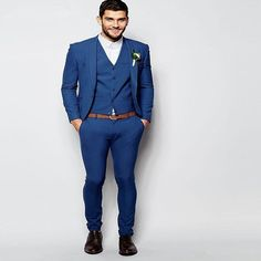 2017 Fashion Royal Blue Tuxedos For Men Elegant Men Suit Daily Work Wear Blazer Prom Party Suits Custom (Jacket+Pants+Vest+Tie)