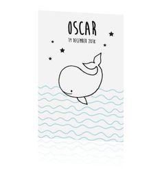 Hoe leuk, dit geboortekaartje voor jullie zoon. Schattig en stoer tegelijk dit getekende walvisje helemaal passend in de in zwart/wit-trend.