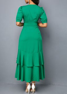 Button Detail V Neck Frill Hem Green Dress Best African Dresses, African Fashion Dresses, Frocks And Gowns, Girls Dresses Sewing, Plain Dress, Club Party Dresses, Trendy Clothes For Women, Green Dress, Chic Outfits