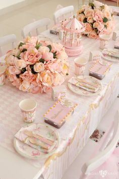 Kids dining tablescape from an Enchanted Carousel Birthday Party on Kara's Party Ideas | KarasPartyIdeas.com (20)