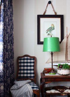 buffalo check, bright green lampshade