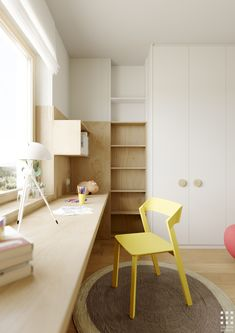 Design of a 92 sq. apartment in Minsk. Almost all furniture was designed by me for this project. Kids Room Design, Home Office Design, House Design, Interior Exterior, Room Interior, Interior Design, Tiny Living Rooms, Small Living, Girl Room