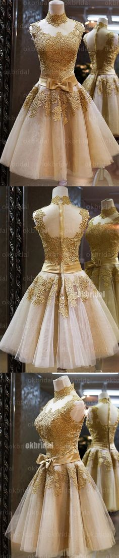 Gold lace homecoming dresses, tulle prom dress, golden cocktail dress, dresses for prom, homecoming dress,