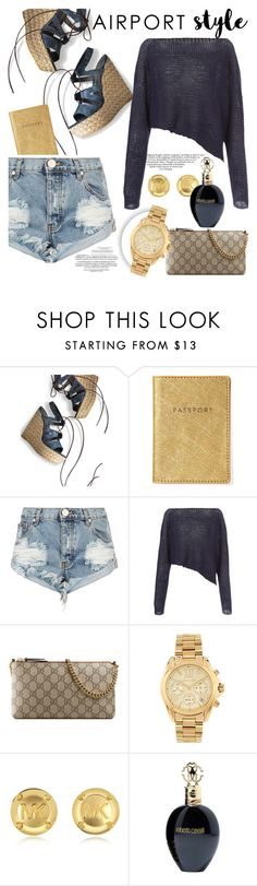"""My airport diary "" by teryblueberry ❤ liked on Polyvore featuring Stuart Weitzman, One Teaspoon, Crea Concept, Gucci, Michael Kors, Roberto Cavalli, Whiteley, GetTheLook and airportstyle"