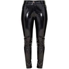 Jean skinny en vinyle noir ($50) ❤ liked on Polyvore featuring jeans, skinny leg jeans, super skinny jeans, skinny fit jeans and skinny jeans