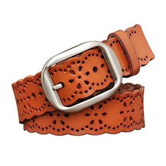 TUNGHO Vintage Women¡¯s Hollow Flower Genuine Leather Belt With Needle Buckle