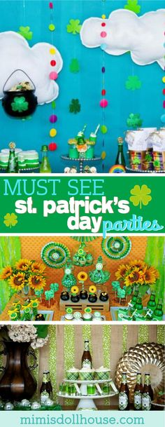 St. Patrick's Day: 5 Lucky St. Paddy's Parties.  It's your lucky day!!  Today I'm sharing 5 St.  Patrick's Day Parties I know you will love! Be sure to check out all our St. Patrick's Day inspiration. via @mimisdollhouse