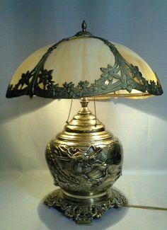 "53176 ANTIQUE 1890s BRASS DRAGON PARLOR LAMP & CARAMEL SLAG GLASS 19"" SHADE"