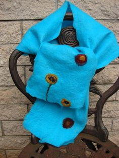Opal blue hand felted scarf with flowers by oksana on Etsy, $45.00