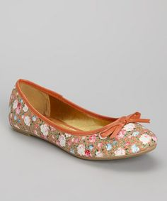 Love this Orange Floral Ballet Flat on #zulily! #zulilyfinds
