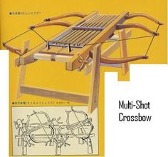multi shot crossbow | Sometimes these were mounted on wheeled carts, but generally they were ...