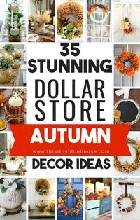 35 Stunning Dollar Store DIY Fall Decor Ideas Looking to decorate your home for fall on a budget? Here are DIY fall decor ideas that you can put together with basic items from the dollar store. Diy Home Decor For Apartments, Diy Home Decor Projects, Decor Ideas, Craft Ideas, Diy Fall Wreath, Fall Diy, Fall Wreaths, Dollar Tree Crafts, Dollar Tree Fall