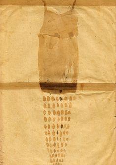 Magda Huygens Tekening van kleedje op oud papier