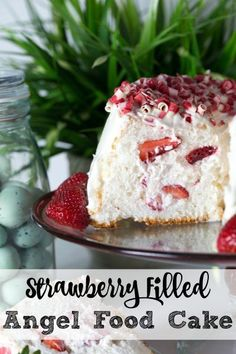 Fluffy Angel Food Cake stuffed with strawberries and whipped cream with a cream cheese frosting.
