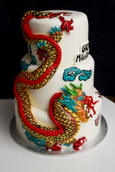 Chinese Dragon Cake All Fondant Chinese Dragon on a 3 tier red velvet cake Cupcakes, Cake Cookies, Cupcake Cakes, Pretty Cakes, Beautiful Cakes, Amazing Cakes, Unique Cakes, Creative Cakes, Chinese Cake