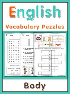 ESL puzzles with body and illness vocabulary. This set has 10 different puzzles…