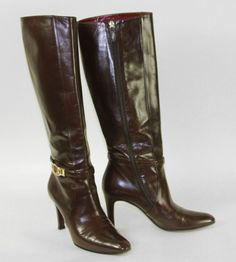 GUCCI high current boots, size 37  Chocolate brown colored leather boots with decorative bridle. VERY ELEGANT MODEL!  minimum bid 180 EUR