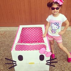 One Crazy Blessed Mama: May Hilary Everyday, Brady's Field Day, Memorial Day, Hello Kitty Cardboard Box Car Diy Cardboard Furniture, Cardboard Car, Infant Activities, Activities For Kids, Fun Experiments For Kids, Diy For Kids, Crafts For Kids, Hello Kitty Car, Movies Box