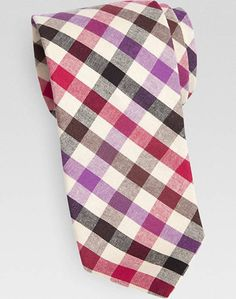 5f81e448980e Egara Lavender & Red Check Narrow Tie - Men's Accessories | Men's Wearhouse