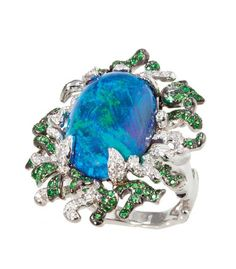 Creeping Vine Ring with a 19.38ct lightning black opal, green tsavorite garnet and diamonds by Katherine Jetter