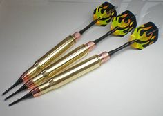 30 06 Rifle Bullet Darts Brass Dart Game Pool Hall Bar Darts Listing is for a set of 3 darts. The 30/06 Dart set will come exactly as pictured The 30/06 Darts are 6.75 in length The 30/06 Dart weight is 25 grams The shafts and flights are standard, and can be changed for a