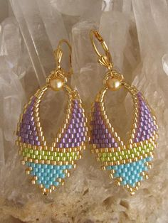 Beadwork  Russian Leaf Earrings  by pattimacs on Etsy, $22.00