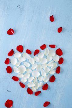 heart of rose petals on blue wooden board