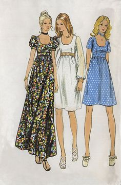Vintage Butterick 6175 Junior Miss UNCUT Scoop Neck Empire Waist Baby Doll Dress in Three Lengths Sewing Pattern Size 5 Bust 30 Vintage Outfits, Vintage Dresses, Vintage Dress Patterns, Clothing Patterns, 70s Fashion, Vintage Fashion, 1970 Style, Patron Vintage, Vintage Mode