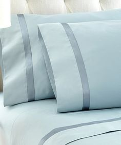 Blue Satin Ribbon Sheet Set by Colonial Home Textiles #zulily #zulilyfinds