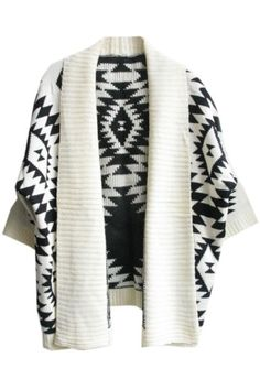 Black & White Tribal Style Cropped Cardigan | www.ustrendy.com   #USTrendy