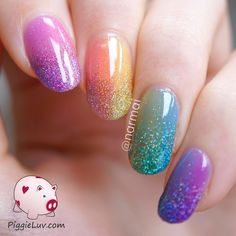 PiggieLuv: Double gradient glitter rainbow nail art with OPI sheer tints