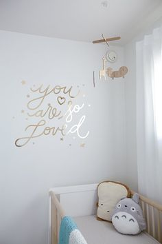 "Totoro plush + gold foil ""You are so Loved"" wall decor"