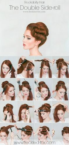 Retro Hairstyles The Freckled Fox: Hair Tutorial The Rockabilly Double-roll - Retro Hairstyles, Wedding Hairstyles, Vintage Hairstyles Tutorial, 1940s Hairstyles For Long Hair, Edwardian Hairstyles, Fashion Hairstyles, Scarf Hairstyles, Everyday Hairstyles, African Hairstyles