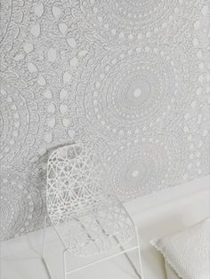 White lace wallpaper - wall behind bed surface option Lace Wallpaper, Wallpaper Wall, White Textured Wallpaper, Wallpaper Awesome, Kitchen Wallpaper, Pattern Wallpaper, Do It Yourself Baby, Doilies Crafts, Design Hotel