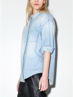 R13 oversized cropped sleeve shirt OAK