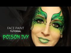 ♥ Makeup Face Paint - Poison Ivy Mask ♥ How to face paint - YouTube