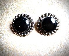 Onyx Sterling Earrings  Mexican silver clip by JNPVintageJewelry